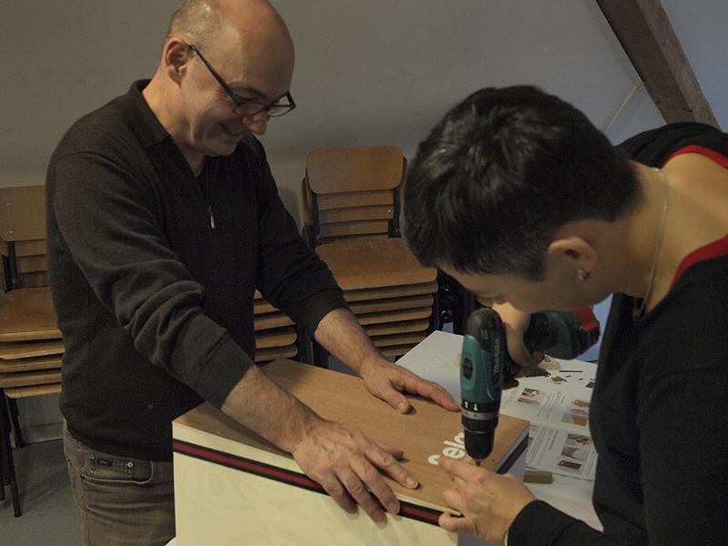 Cajon-Bau-Workshop | Schlagfläche anschrauben