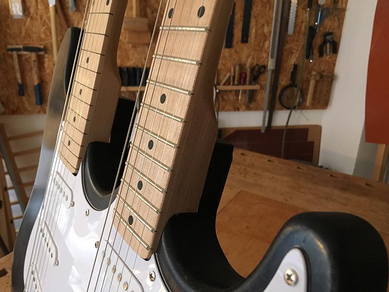 Double-Neck, Detail, bundierter Hals