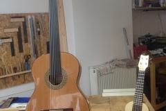 fretless guitar, fertige Gitarre neben einer Sopran-Ukulele