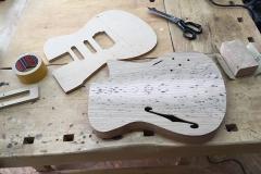 Hollow-Body-E-Gitarre, Body und Frässchablone für Tonabnehmer usw.