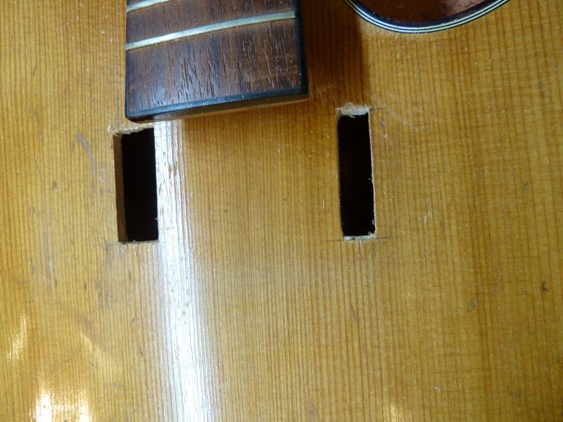 Jazzgitarre restaurieren, Schadstellen sauber herausgesägt, Detail