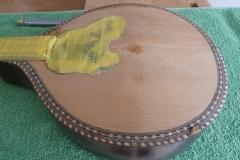 Mandoline restaurieren, Lack von Decke entfernt, Macken gefüllt