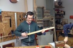 Cigarbox-Guitar, erstes Probespiel